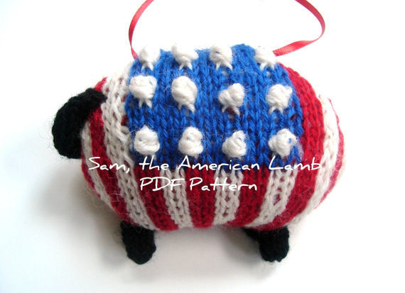 Sheep Ornament Knitting Kit Patriotic Lamb Ornament Kit - Buttermilk Cottage - 3