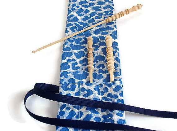 Crochet Hooks for Knitters Blue Faux Animal Print - Buttermilk Cottage - 2