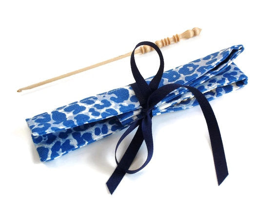Crochet Hooks for Knitters Blue Faux Animal Print - Buttermilk Cottage - 3