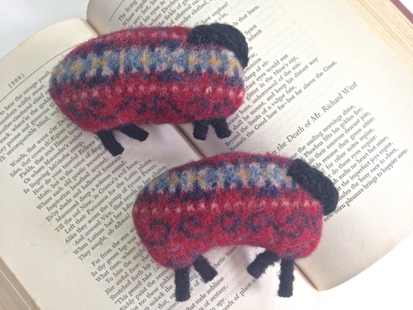 Pocket Hand Warmers Red Felted Wool Fair Isle Up Cycled Sweater Sheep - Buttermilk Cottage - 2