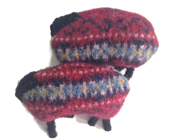 Pocket Hand Warmers Red Felted Wool Fair Isle Up Cycled Sweater Sheep - Buttermilk Cottage - 4