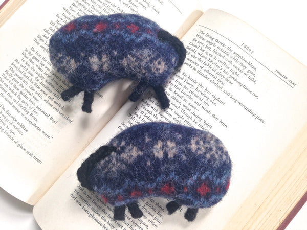 Felted Sheep Handwarmers Navy Fair Isle - Buttermilk Cottage - 2