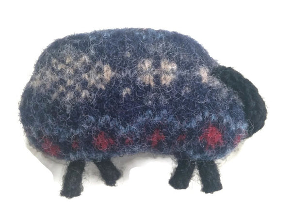 Felted Sheep Handwarmers Navy Fair Isle - Buttermilk Cottage - 3