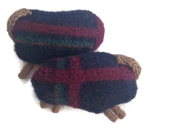 Felted Sheep Handwarmers Navy with Stripes - Buttermilk Cottage - 3