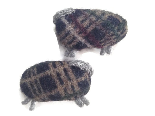 Felted Sheep Handwarmers Plaid - Buttermilk Cottage - 3