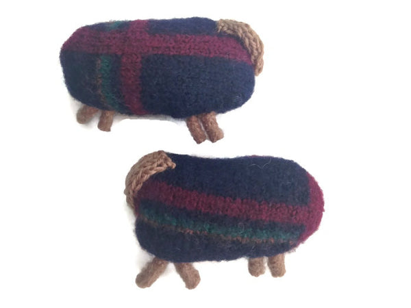 Felted Sheep Handwarmers Navy with Stripes - Buttermilk Cottage - 4