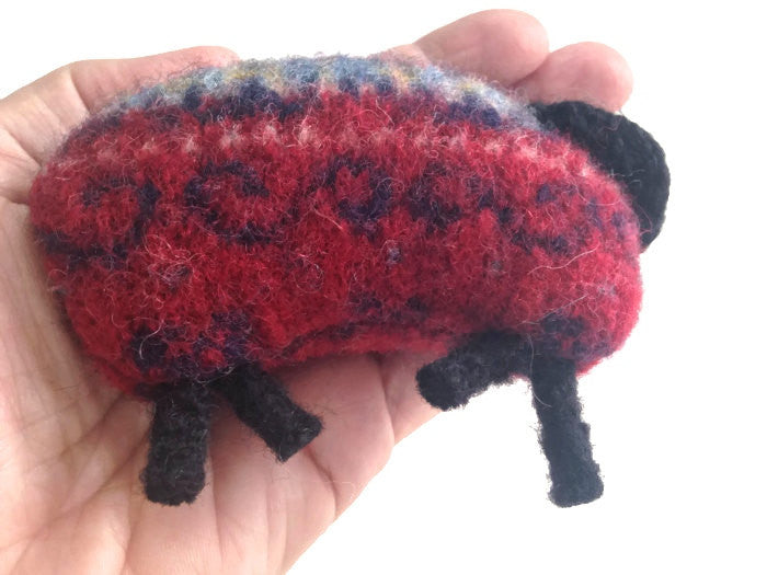 Pocket Hand Warmers Red Felted Wool Fair Isle Up Cycled Sweater Sheep - Buttermilk Cottage - 1