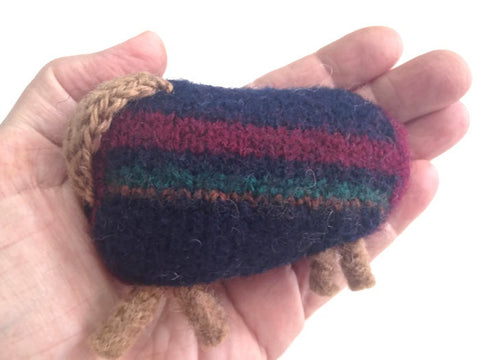 Felted Sheep Handwarmers Navy with Stripes - Buttermilk Cottage - 1