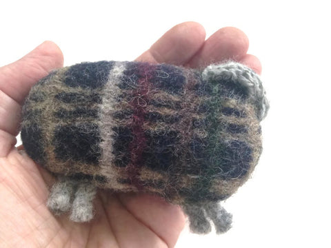 Felted Sheep Handwarmers Plaid - Buttermilk Cottage - 1