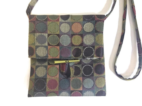 Tag Along Bag Green Circle Motif - Buttermilk Cottage - 2