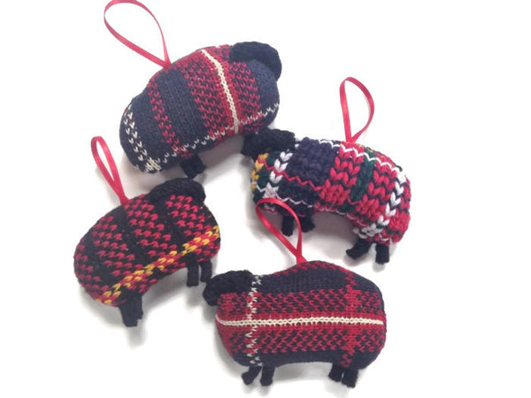 Up Cycled Plaid Sheep Ornament - Buttermilk Cottage