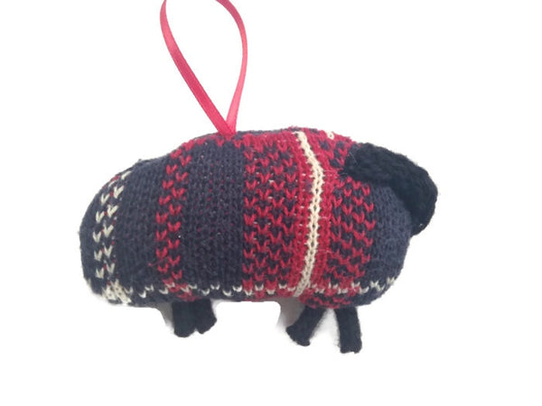 Up Cycled Plaid Sheep Ornament - Buttermilk Cottage - 3