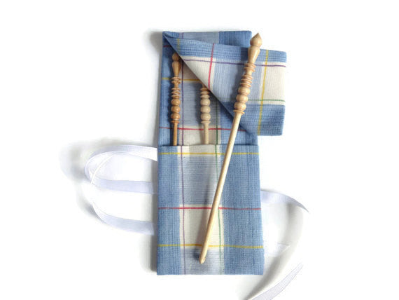 Crochet Hooks for Knitters Blue Check - Buttermilk Cottage