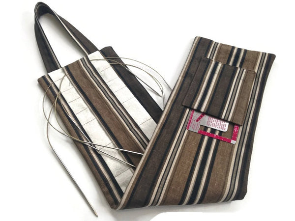 Hanging Circular Needle Organizer Brown & Black Stripe - Buttermilk Cottage - 1