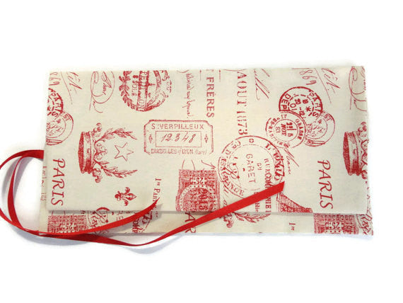 Double Point Needle Roll Up 12 Pockets Red French Icon Fabric - Buttermilk Cottage - 4