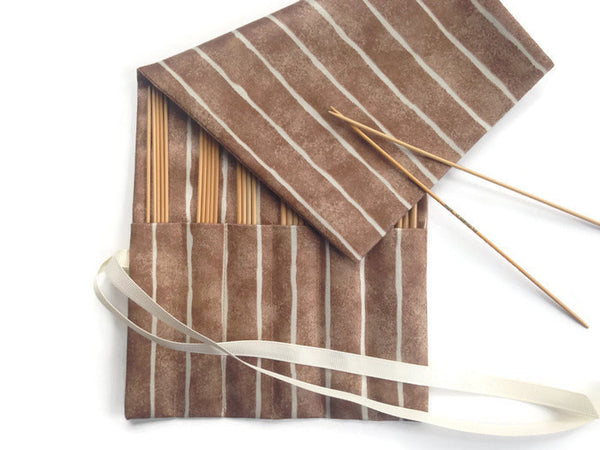 Double Point Needle Roll Up 6 Pockets Brown Wavy Stripe - Buttermilk Cottage - 3