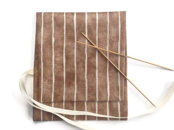 Double Point Needle Roll Up 6 Pockets Brown Wavy Stripe - Buttermilk Cottage - 2