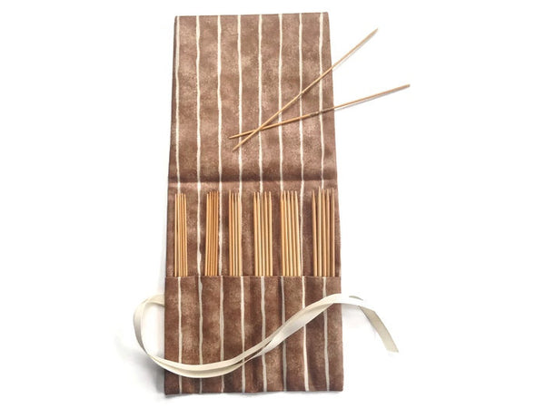 Double Point Needle Roll Up 6 Pockets Brown Wavy Stripe - Buttermilk Cottage - 4