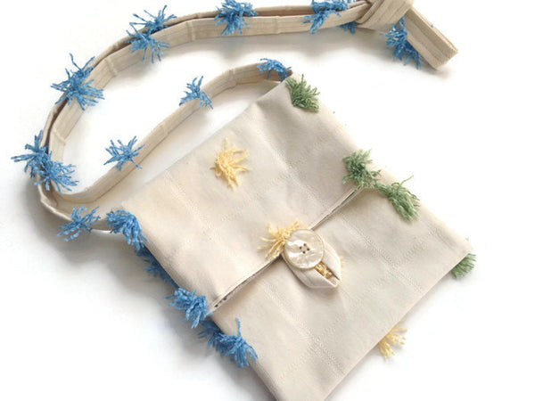 Tag Along Bag Cream Novelty Tassel Fabric - Buttermilk Cottage - 1