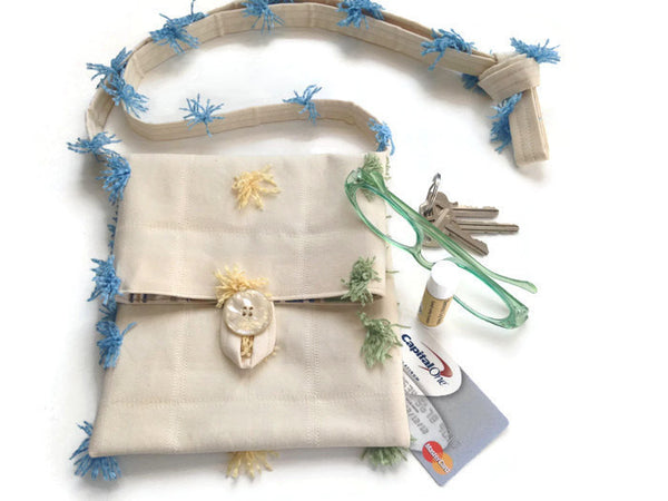Tag Along Bag Cream Novelty Tassel Fabric - Buttermilk Cottage - 2