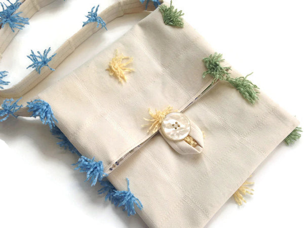 Tag Along Bag Cream Novelty Tassel Fabric - Buttermilk Cottage