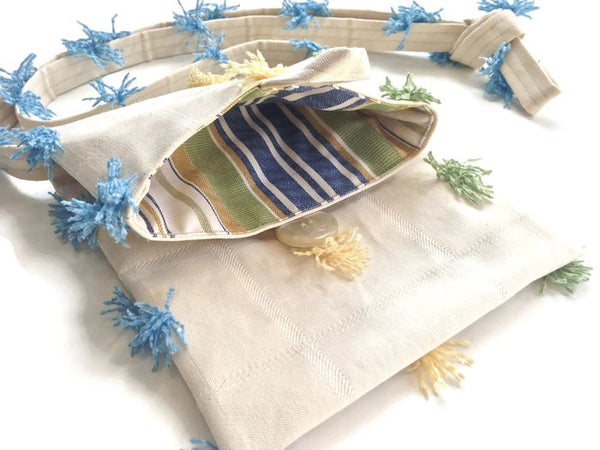 Tag Along Bag Cream Novelty Tassel Fabric - Buttermilk Cottage - 4