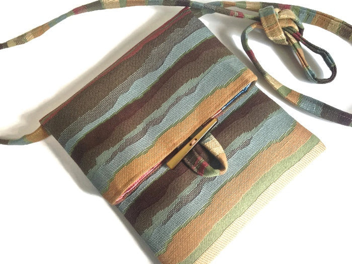 Tag Along Bag Blue Brown Stripe - Buttermilk Cottage - 1