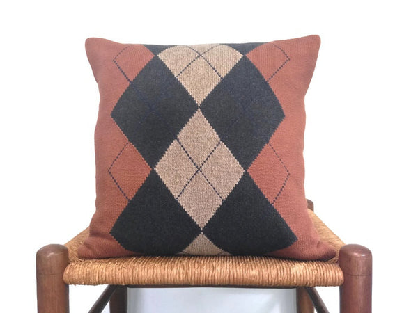 Sweater Pillow Set Rust Argyle - Buttermilk Cottage - 2