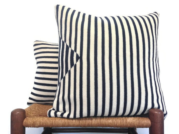 Sweater Pillow Set Navy Stripe - Buttermilk Cottage - 1