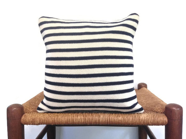 Sweater Pillow Set Navy Stripe - Buttermilk Cottage - 3