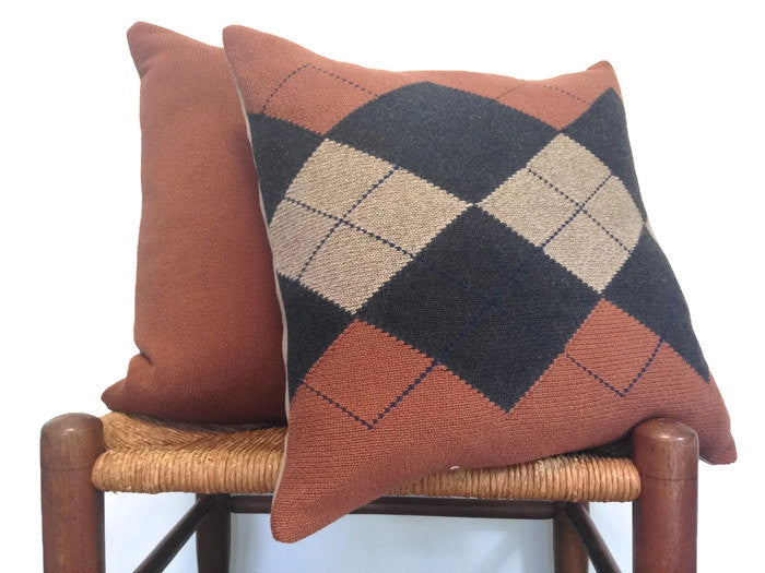 Sweater Pillow Set Rust Argyle - Buttermilk Cottage - 1