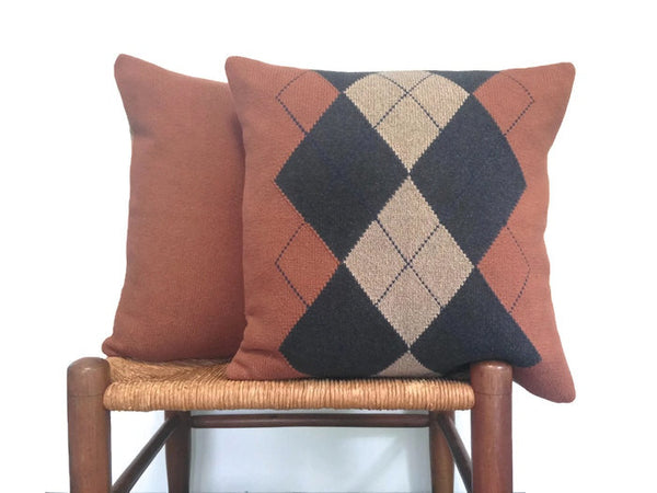 Sweater Pillow Set Rust Argyle - Buttermilk Cottage - 5