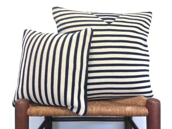 Sweater Pillow Set Navy Stripe - Buttermilk Cottage - 5