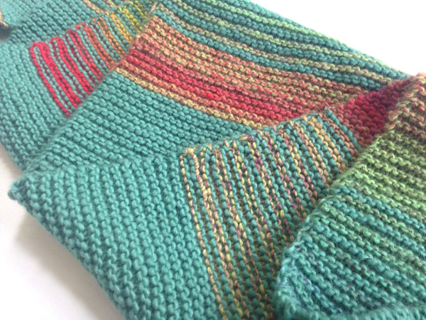 Triangular Scarf Wool Aqua Coral - Buttermilk Cottage - 5