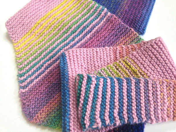 Triangular Scarf Wool Pink Blue - Buttermilk Cottage - 5