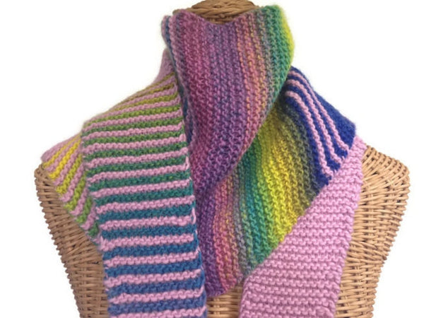 Triangular Scarf Wool Pink Blue - Buttermilk Cottage - 4