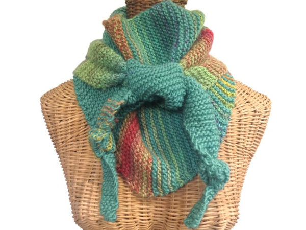 Triangular Scarf Wool Aqua Coral - Buttermilk Cottage - 2