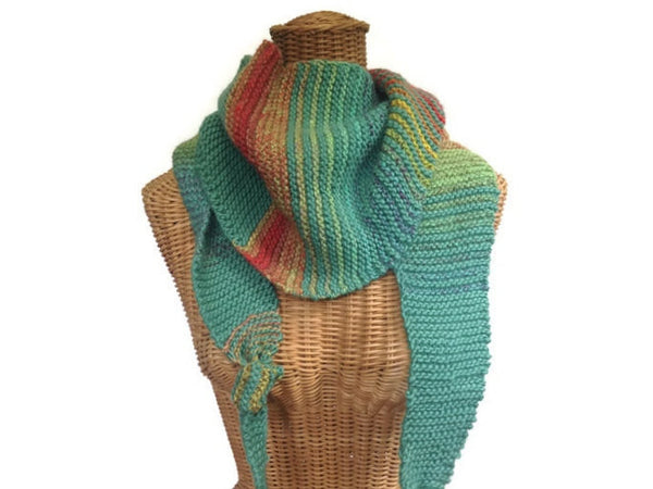 Triangular Scarf Wool Aqua Coral - Buttermilk Cottage - 3