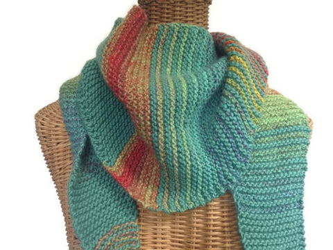 Triangular Scarf Wool Aqua Coral - Buttermilk Cottage - 1