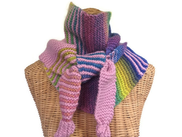 Triangular Scarf Wool Pink Blue - Buttermilk Cottage - 2