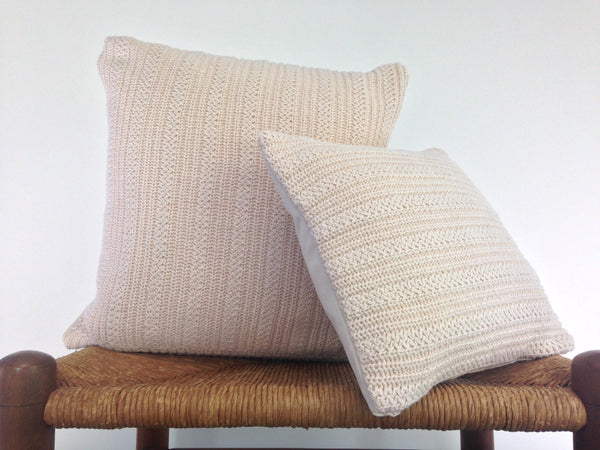 Sweater Pillow Set Off White Textured Knit - Buttermilk Cottage - 2