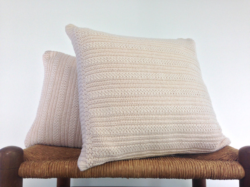 Sweater Pillow Set Off White Textured Knit - Buttermilk Cottage - 1