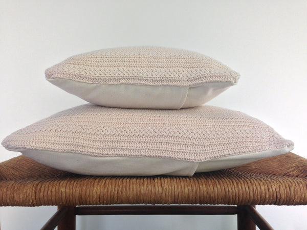 Sweater Pillow Set Off White Textured Knit - Buttermilk Cottage - 4