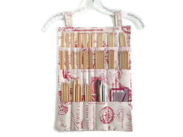 Hanging DPN Organizer Red French Icon Fabric - Buttermilk Cottage - 4