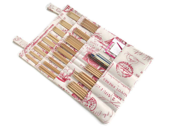Hanging DPN Organizer Red French Icon Fabric - Buttermilk Cottage - 1