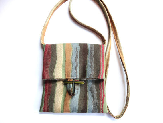 Tag Along Bag Blue Brown Stripe - Buttermilk Cottage - 2