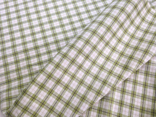 Fabric Green Tattersall Check Plaid - Buttermilk Cottage - 5
