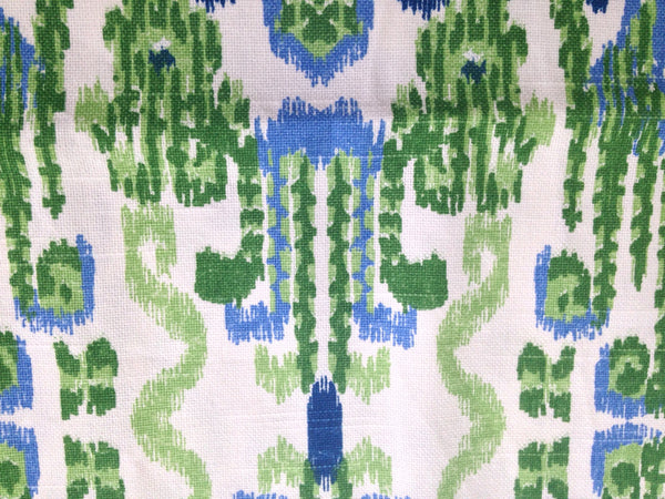 Fabric Blue Green Ikat Woven Fabric - Buttermilk Cottage - 2