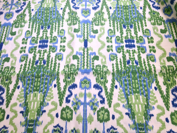 Fabric Blue Green Ikat Woven Fabric - Buttermilk Cottage - 1