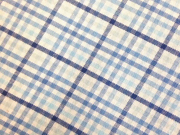 Fabric Woven Blue Plaid - Buttermilk Cottage - 1